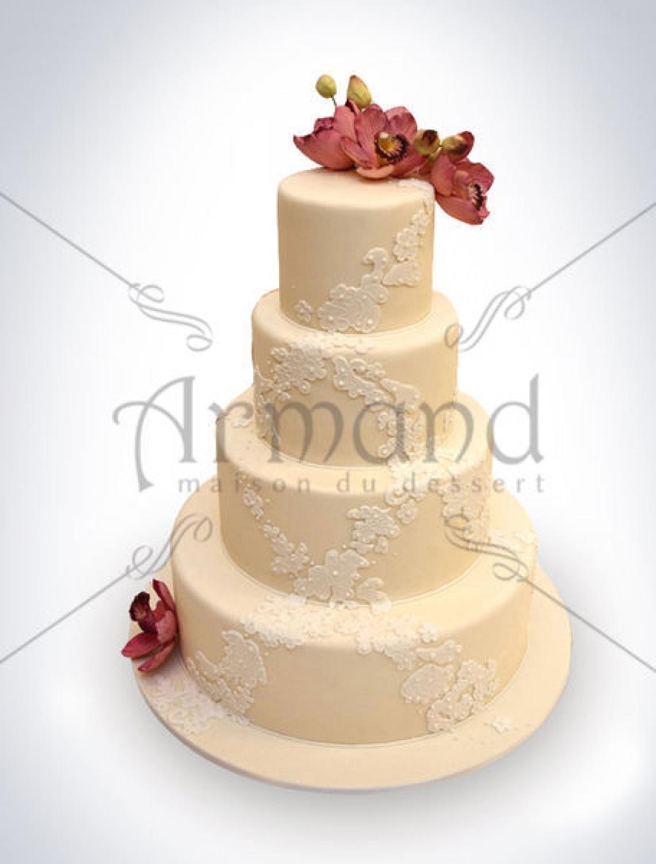 Tort de nunta Ivory cu orhidee si dantela  TN119