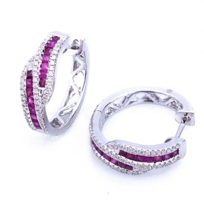 Cercei cu rubine si diamante C191