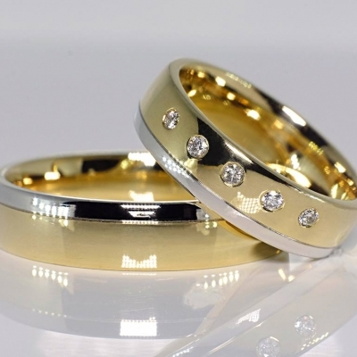 Verighete din aur cu diamante v075