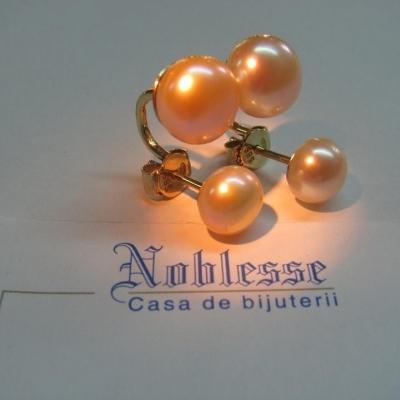 Cercei din aur galben cu perle