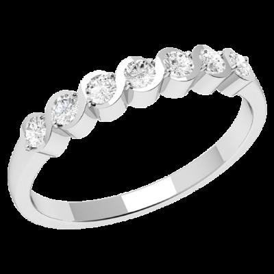Inel Semi Eternity Dama Aur Alb, 18kt cu 7 Diamante Rotund Briliant RD454W
