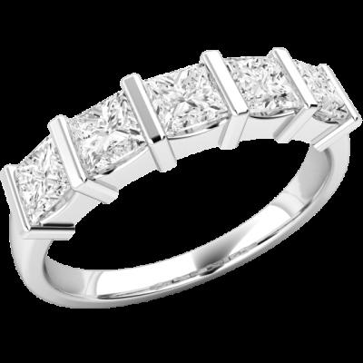 Inel Semi Eternity Dama Aur Alb, 18kt cu 5 Diamante Princess in Setare cu Bara RD593W