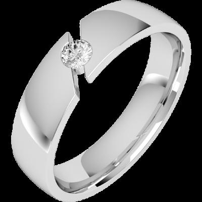 Verigheta/Inel cu Diamant Barbat Aur Alb 18kt cu Diamant Rotund Briliant, Latime 6mm, Profil Bombat RDWG064W