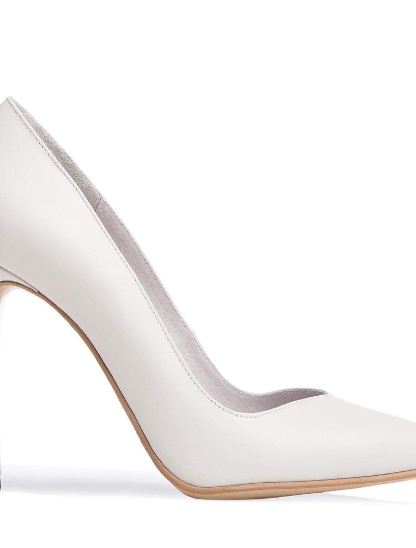 Pantofi stiletto albi de mireasa Classy