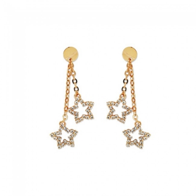 Cercei Dimoda Gold Crystal Clear Two Small Stars