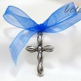 Cruciulita stilizata argintie cu funda albastra