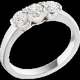 Inel de logodna/Inel cu 3 Diamante Dama Aur Alb 18kt cu 3 Diamante Rotund Briliant in Setare Gheare RD051W