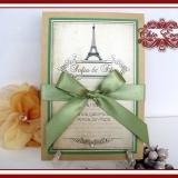 Invitatie de nunta handmade Love in PARIS cu nuante discrete de mar verde