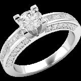 Inel de Logodna Solitaire cu Diamante Mici pe Lateral Dama Aur Alb 18kt cu un Diamant Central Rotund si Diamante Princess pe Margini RD174W