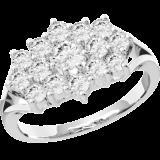 Inel Cocktail cu Diamante/Inel de Logodna Dama Aur Alb 18kt cu Diamante Rotund Briliant RD414W