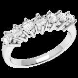 Inel Semi eternity Dama Aur Alb, 18kt cu 7 Diamante Rotund Briliant Setate cu Gheare RD253W