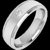Verigheta/Inel cu Diamant Barbat Aur Alb 18kt cu un Diamant Rotund Briliant, Profil Usor Bombat RDWG028W