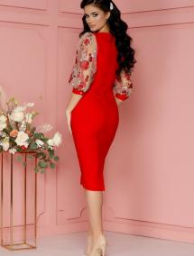 Rochie LaDonna rosie cu maneci bufante din tull cu broderie florala