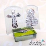 Marturie de botez iconita din sticla in forma de carte