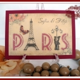 Invitatie de nunta handmade Love in PARIS vintage style