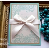 Invitatie de nunta handmade Gold & Mint green