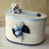 Cutie dar botez ursulet biberon bleu
