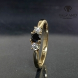 Inel de logodna din Aur cu diamant negru si diamante 025DnDi