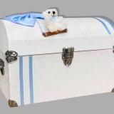 Cufar botez cu funda bleu si ursulet alb in leagan