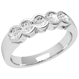 Inel Semi Eternity Dama Aur Alb, 18kt cu 5 Diamante Rotund Briliant in Setare Rub-Over RD278W