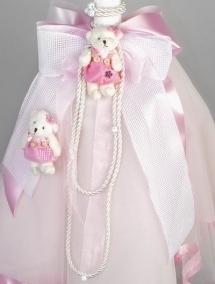 Lumanare botez fetita ursulet roz