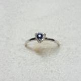 Inel aur alb 18k cu diamante si safir R 54