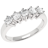 Inel Semi Eternity Dama Aur Alb, 18kt cu 5 Diamante Rotund Briliant in Setare Gheare RD248W