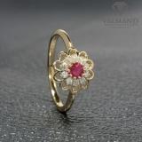 Inel de logodna din Aur cu rubin si diamante 559RbDi
