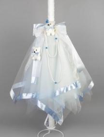 Lumanare botez bleu ursuleti