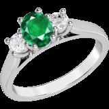 Inel cu Smarald si Diamant Model RDM493W