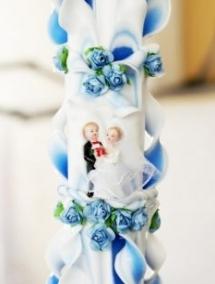 Lumanare nunta albastra 120 cm sculptata la ambele capete