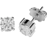 Cercei Tip Stud Aur Alb 18kt cu Diamant Rotund Briliant Setat cu 4 Gheare  RDE001W