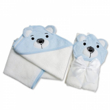Prosop de baie cu gluga model ursulet bleu Baby Snuggle Baby