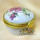 Marturie din ceramica in forma de cutiuta rotunda cu trandafiri roz