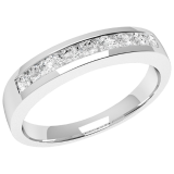 Inel Semi Eternity Dama Aur Alb, 18kt cu 9 Diamante Rotund Briliant in Setare Canal RD053W