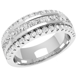 Verigheta cu Diamant/ Inel eternity Dama Aur Alb, 18kt cu 15 Diamante Princess & 36 Diamante Rotund Briliant in Setare Canal, 7.00mm RDW085W