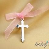 Cruciulita de botez mare cu funda roz