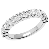 Inel Semi Eternity Dama Aur Alb, 18kt cu 11 Diamante Rotund Briliant in Setare Gheare RD302W