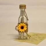 Invitatie sticla rustica cu floarea soarelui