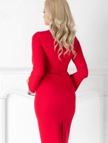 Rochie Moze rosie conica cu maneci lungi