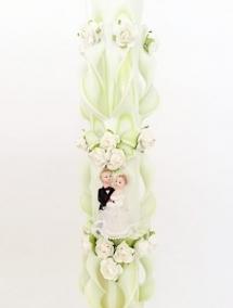 Lumanare nunta verde fistic 120 cm sculptata la ambele capete