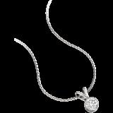 Pandantiv cu Diamant Solitaire Aur Alb 18kt cu Diamant Rotund Briliant in Setare Rub-Over si Lantisor de 45cm  RDP015W