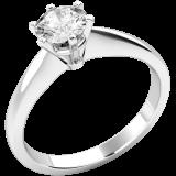 Inel de Logodna Aur Alb 18kt cu un Diamant Rotund, Setare 6-Gheare RD112W