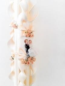 Lumanare nunta somon 60 cm sculptata la ambele capete