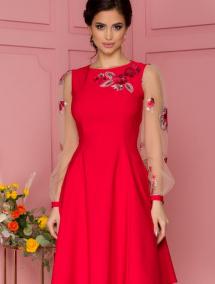 Rochie LaDonna rosie cu maneci din tull si broderie florala