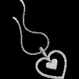 Pandantiv cu Mai Multe Diamante Aur Alb 18kt in Forma de Inima cu Diamante Princess si Rotund Briliant & Lantisor de 45cm RDP061W