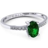 Inel logodna L101ASM inel cu diamant si smarald