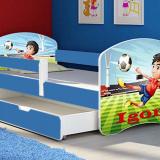 Patut Tineret MyKids Fotball cu Sertar si Saltea 140x70