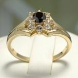 Inel de logodna din Aur cu Diamant Negru si Diamante i006DnDi